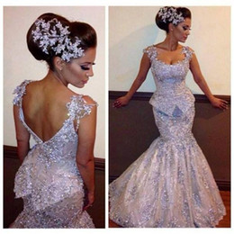 Cap Sleeves Scoop FloorLength Formal Modern2015 Mermaid Bridal Wedding Dresses With Lace Appliqued Beading Sequins Prom Evening Party bo7011