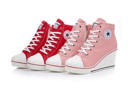 Descuento top zapatos altos zapatos del elevador Nuevo 2015 Insignia de Cuñas de Alta lazada casual ascensor zapatos de mujer zapatos de lona de alta la parte superior de la cuña zapatillas de deporte, mujeres zapatillas de deporte