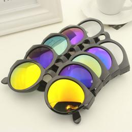 Wholesale Classic Sunglasses New Women Men Fashion Designer Vintage Sunglass Round Frame Mirror Multi color Sun Glasses Eyewear lenses shades