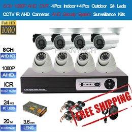 New 8CH 1080P AHD DVR 4pcs Indoor + 4pcs Outdoor 720P AHD Cameras 24 Leds AHD Security System Surveillance Kits Free Shipping