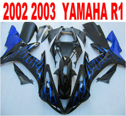 Injection mold ABS full fairing kit for YAMAHA R1 2002 2003 blue flames in black fairings set 02 03 yzf r1 LQ18