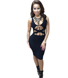 Wholesale-Sexy dress 2016 Summer Women Black Cutout bandage dress vestidos femininos Knitted Bodycon Night Club dresses Sexy party wear