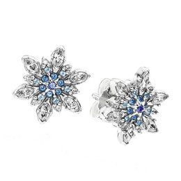 Snowflake Clear CZ and Mixed Blue Shades of Crystal and CZ Certificated 100% 925 Sterling Silver Earring Fashion Jewelry Free Shipping