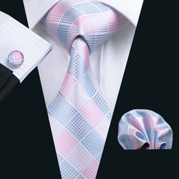 Pink Plaid Tie for Men Hanky Cufflinks Set Mens Jacquard Woven Business Necktie 8.5cm Width Casual Set N-1198
