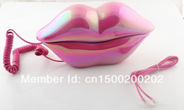 Wholesale Sexy analog Hot Pink Lip Home Desk Plastic Wired Telephone phone