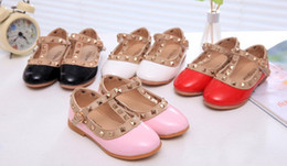 Girls Cute rivet Shoes fashion Kids Single Flat Shoe Children Breathable Dance Shoes kids pu leather shoes pink black white nude pink A5912