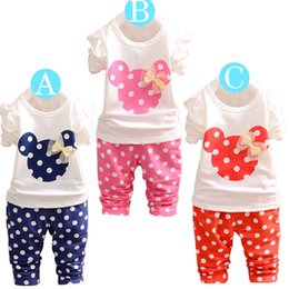 Wholesale 2016 Baby Summer Girls Cartoon Mickey Polka Dot Sets Suits top t shirt Pants Kids Cotton Ruffle Coat Outfits Children Clothes HS B01