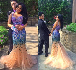 Sexy Two Pieces 2016 New Bling Evening Dresses Rhinestone Crystal Beads Mermaid Gold Tulle Zipper Back Long Formal Prom Party Gowns BA1361