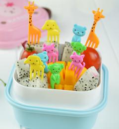 Wholesale Cute Animals Food Picks and Forks bright color Bento Food Pick Fork animals fruit forks for children food picks in a pack
