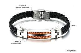 Titanium steel men's bracelet Black PU hand-woven Valentine bracelets Radiation motion Christmas Bracelet H14