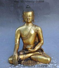 Wholesale 8 quot tibet buddhism Joss Bronze Gilt Sakyamuni Tathagata Medicine Buddha statue