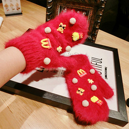 Wholesale Autumn and winter gloves Han Guodong gates purchasing imported cute bear pure rabbit wool mittens female winter gloves
