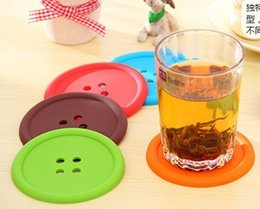 Wholesale Cute Colorful Silicone Button Coaster Cup Cushion Holder Drink Placemat Mat Home