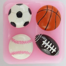 Wholesale Soccer basketball baseball football series silicone molds diy handmade chocolate fondant cake decoration