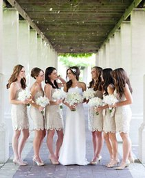 2016 Short Sheath Lace Bridesmaid Dresses Strapless Mini Wedding Party Dresses For Bridesmaid Honor of Bride Dress