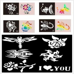 Wholesale 50pcs Glitter Tatoo Stencils For Temporary Body Art Paint Airbrush and Flash Tattoo Template For Small Body Designs Makeup
