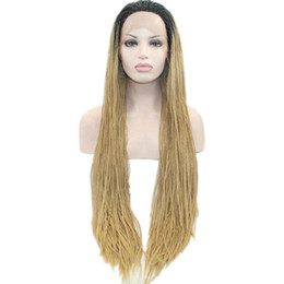 Wholesale ombre light brown dark root synthetic micro box braided lace front wig for african american black women heat resistant fiber