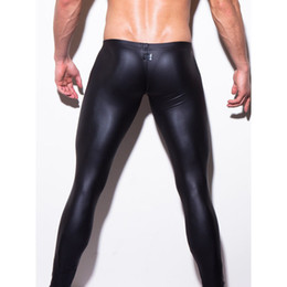 2015 Sexy Brand Bodywear Low-rise Bulge Pouch Night Club Stage Performance Tights Pants Men's Sexy Faux Leather Leggings Black Pants
