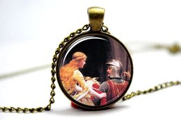 Wholesale 10pcs God Speed Necklace Artwork By Artist Edmund Leighton Glass Cabochon Necklace