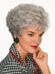 Corto rizado peinados mujeres en Línea-Gris blanco brasileño malasia curly corto bob para peluca de la vieja peruca pelucas pelo pelo sintético sw0108