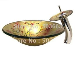 Plum Flower Vessel Sink Tempered Glass Sink Faucet Combine All CM0081