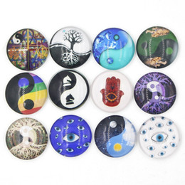 New Arrival Yingyang Glass Stone Buttons Inspired Faith Hand Eyes Ying Yang Snaps for 18mm Snap Jewelry Bracelet Necklace Ring Earring