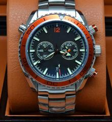 Free Shipping Luxury Brand Mens Automatic Mechanical Watches Stainless Steel Orange Sea Planet Ocean Co-Axial Fashion Mens Wristwatches Sale