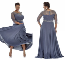 Gray Plus Size Special Occasion Dresses 2019 Sheer Sleeves Evening Gowns With Beads Mother of the Bride Dress Party Plus Long Dress