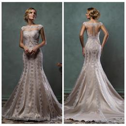 Wholesale Amelia Sposa Beautiful Cap Shoulder Lace Appliques Mermaid Wedding Dresses Natural Slim Bridal Gowns Lace Custom Modest Vestidos