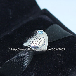 S925 Sterling Silver Baby Boy Charm Bead with Blue CZ Fits European Pandora Jewelry Bracelets Necklaces & Pendant