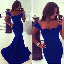Wholesale Sweetheart Simple Cheap Evening Dress Plus Size Long Party Dresses Custom Sleeveless Prom Dress Mermaid Royal Blue Prom Dresses