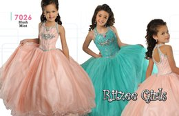 Wholesale Soft Colored Ritzee Girls Pageant Dresses Halter AB Rhinestones Beading Formal Junior Ball Gown Flower Girl Dress Keyhole Zipper Back