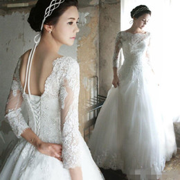 2015 Wedding Dresses new christmas dresses Appliques Three Quarter Sleeve White Bridal Gown Good Quality Stain Plus Wedding Gown Ball Gown