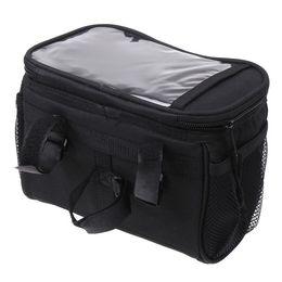 Wholesale Black Bicycle Cycling Handlebar Bag Front Tube Pannier Rack Bag Basket for outdoor sport L H8110