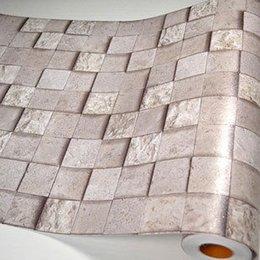Wholesale Bathroom walls papers PVC mosaic wallpaper kitchen waterproof tile stickers plastic vinyl self adhesive wall decor home decor