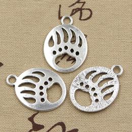 Wholesale 60pcs Charms bear paw mm Antique Zinc alloy pendant fit Vintage Tibetan Silver DIY for bracelet necklace