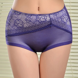 Top quality big size women brief pretty lace lady underwear Highwaist bamboo fiber lady underpant stretch lady panties hot lingerie intimate