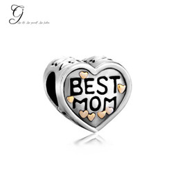 Wholesale Fits Pandora Charm Bracelet Mother Daughter Beads K Heart Charm Best Mom Charms Beads For Diy European Snake Necklace Chain
