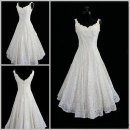 Wholesale Plus Size Lace Wedding Dresses V neck Sexy Tea Length Short Beach Wedding Dress Actual Imagine A line Sleeveless Bridal Wedding Gown