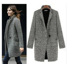 2014 Design New Spring Winter Trench Coat Women Grey Medium Long Oversize Warm Wool Jacket European Fashion Overcoat