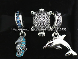 S925 Sterling Silver Charms and Murano Glass Bead Set with Charm Box Fits European Pandora Jewelry Charm Bracelets-Animal Set