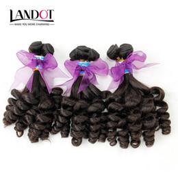 Grade 8A Unprocessed Peruvian Aunty Funmi Curly Virgin Human Hair Weave Bundles Romance Sprial Bouncy Egg Curls Natural Color Can Bleach Dye