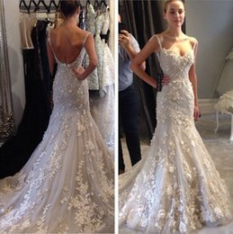 2015 Wedding Dresses Backless Mermaid Wedding Gowns Sweetheart Beaded Appliques Sexy Bridal Gowns with Spaghetti Straps