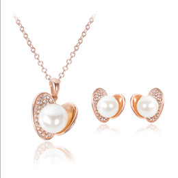 Fashion Heart Shape Imitation Pearl Crystal Pendant Necklace Earrings Jewelry Sets Rose Gold Plated Wedding Bridal Jewelry Sets