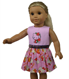 18 inch Pink American Girl Doll Clothes 18 inch Girl Doll Dress with Cartoon Kitty Printed