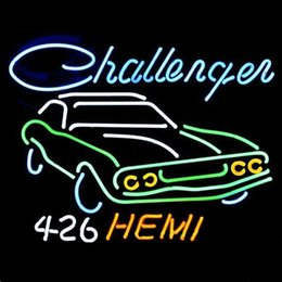 Wholesale 17 quot x14 quot Big Dodge Challenger RT Hemi Auto Dealer design Real Glass Neon Light Signs Bar Pub Restaurant Billiards Shops Display Signboards