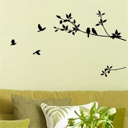 Wholesale Ebay hot flying bird tree branch vinyl cut wall stickers bedroom decoration removable diy home decals animal mural art
