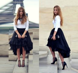 Dark Navy Hi-Lo Tulle Skirts Flouncing Ruffles Multiple Layers New Fashion Skirts for Women Custom Made Top Quality Tulle Skirt Cheap