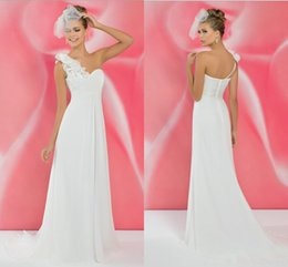 White One Shoulder Elegant Bridesmaid Dresses 2015 Backless Sweep Train Hand Make Flower Chiffon Custom Made Evening Gown Party Dresses