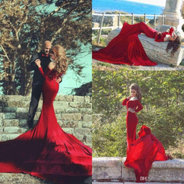 Arabic Winter Said Mhamad Burgundy Velvet Prom Dresses Long Chapel Train Long Sleeves Sexy Wedding Party Reception Evening Gowns